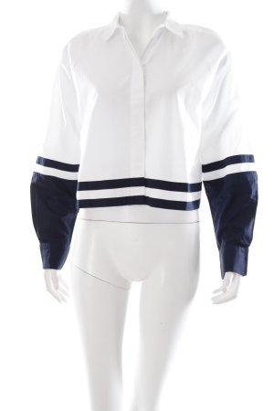 H&M Langarm-Bluse weiß-dunkelblau Streifenmuster