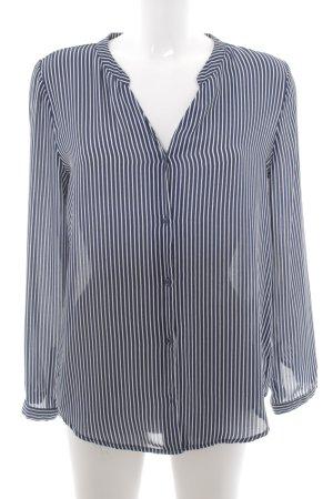H&M Langarm-Bluse weiß-dunkelblau Streifenmuster Business-Look