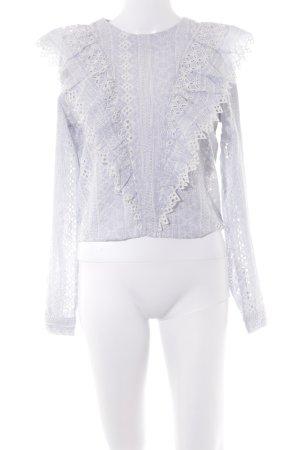 H&M Langarm-Bluse weiß-graublau Casual-Look