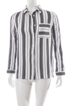 H&M Langarm-Bluse weiß-schwarz Streifenmuster schlichter Stil