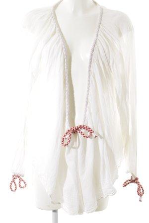 H&M Langarm-Bluse wollweiß-dunkelrot schlichter Stil