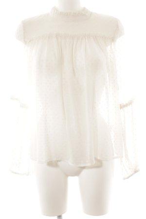 H&M Langarm-Bluse wollweiß Punktemuster Romantik-Look