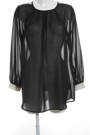 H&M Langarm-Bluse wollweiß-schwarz Elegant