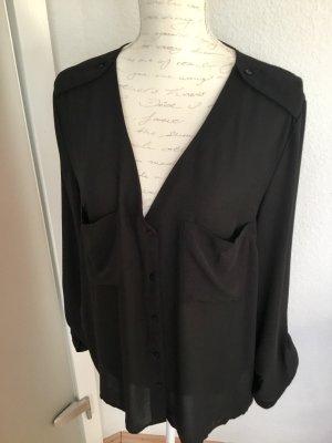 H&M Langarm Crêpe-Bluse schwarz