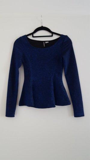 H&M Langarm-Shirt in dunkelblau mit Glitzer und Schößchen
