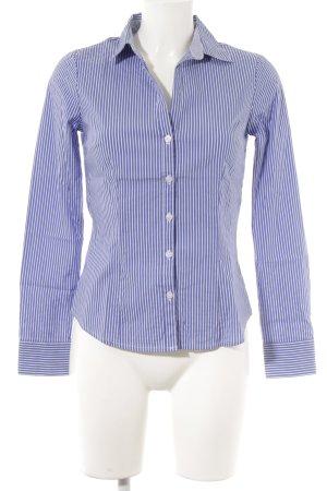H&M Shirt met lange mouwen blauw-wit gestreept patroon zakelijke stijl