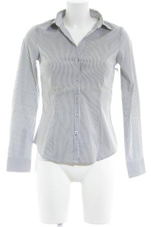 H&M Shirt met lange mouwen donkergrijs-wit gestreept patroon zakelijke stijl