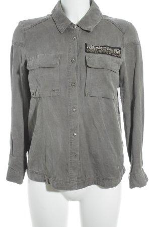 H&M Shirt met lange mouwen grijs-groen-zwart Biker-look