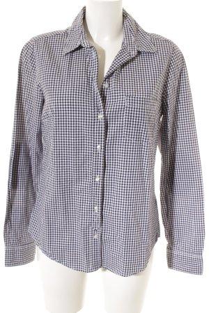 H&M Langarmhemd weiß-dunkelblau Karomuster klassischer Stil