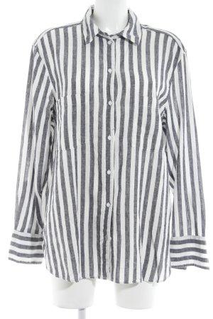 H&M Langarmhemd weiß-dunkelblau Streifenmuster Casual-Look