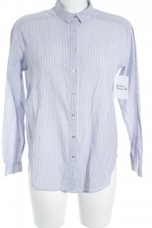 H&M Long Sleeve Shirt white-grey violet striped pattern classic style