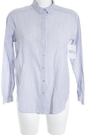 H&M Langarmhemd weiß-grauviolett Streifenmuster klassischer Stil