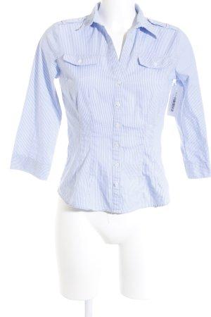 H&M Langarmhemd weiß-himmelblau Streifenmuster Casual-Look