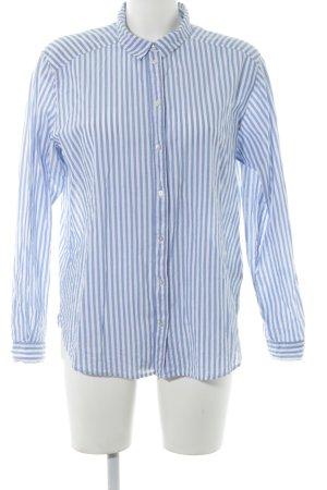 H&M Langarmhemd weiß-kornblumenblau Streifenmuster Elegant