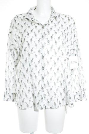 H&M Langarmhemd weiß-schwarz Animalmuster Casual-Look