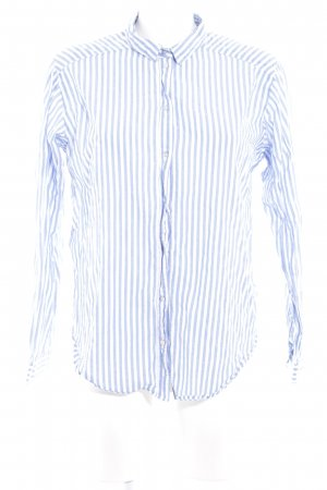 H&M Langarmhemd wollweiß-kornblumenblau Streifenmuster Boho-Look