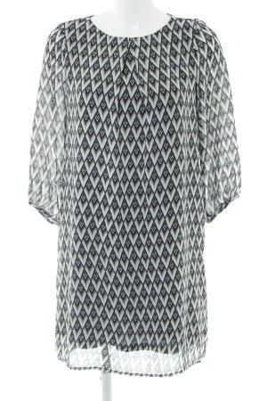 H&M A-Linien Kleid schwarz-hellgrau grafisches Muster Casual-Look