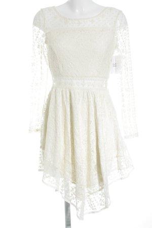 H&M Langarmkleid creme Romantik-Look