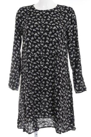 H&M Langarmkleid schwarz-blassgrün Blumenmuster Casual-Look