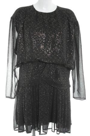 H&M Langarmkleid schwarz-goldfarben Elegant