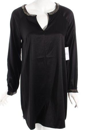 H&M Langarmkleid schwarz-silberfarben Elegant