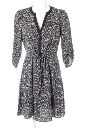 H&M Langarmkleid schwarz-weiß grafisches Muster Casual-Look