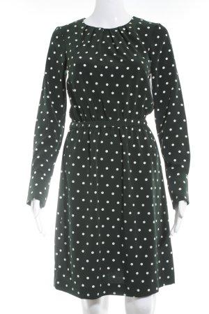H&M Langarmkleid waldgrün-weiß Punktemuster Street-Fashion-Look