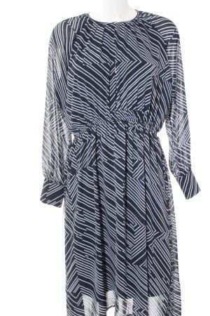H&M Langarmkleid weiß-blau Streifenmuster Casual-Look