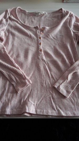 H&M Langarmshirt gerippt mit Knöpfen XL