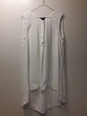 H&M lange ärmellose Bluse lockerer Schnitt weiß Rundhals Gr. 40