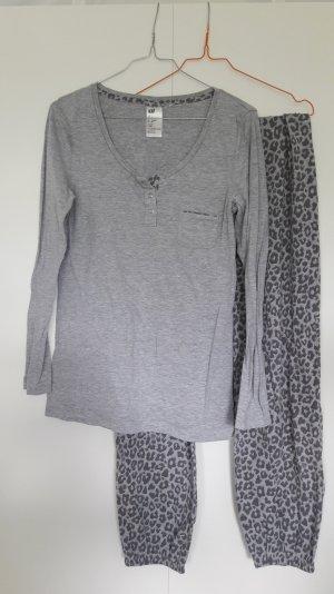 H&M langer Pyjama grau Leoparden-Muster Gr. S