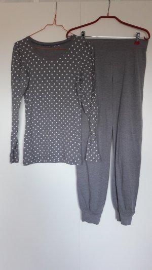 H&M langer Pyjama grau weiß gepunktet Gr. XS