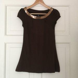 H&M langes Shirt mit Paillettenbesatz in braun, XS/34/36