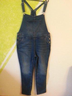 Salopette en jeans bleu foncé tissu mixte