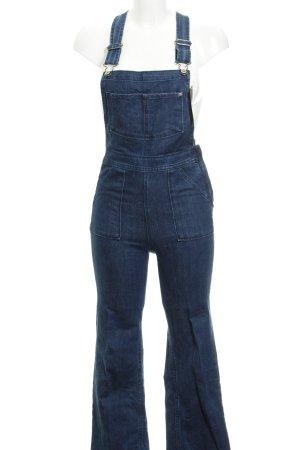 H&M Jeans met bovenstuk donkerblauw-staalblauw Jaren 70 stijl