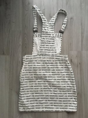 H&M Pinafore Overall Skirt white-black cotton