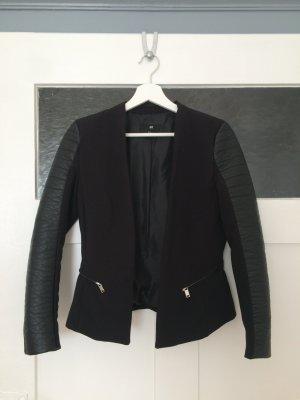 H&M Leder Blazer Jacket Jacke Cardigan Kimono Schwarz 34 XS