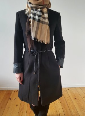 H&M Leder Mantel 32 34 XXS XS schwarz knit Jacke Trenchcoat Übergangsmantel Strickjacke Neu