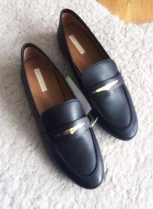 H&M Leder Slipper Business Schuhe schwarz Gold 38 NEU