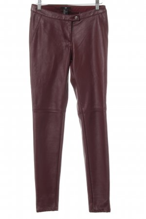 H&M Leather Trousers blackberry-red biker look