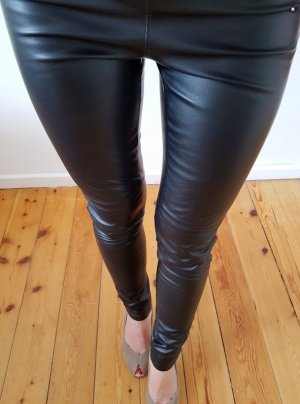 H&M Lederhose Leder Leggings XXS XS 32 34 schwarz skinny high waist Röhre Hose Jeans Treggings Top