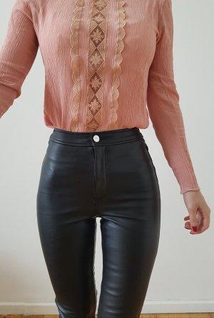 H&M Lederhose XXS 32 34 schwarz Lederleggings Röhre Leder Lack Leggings Top