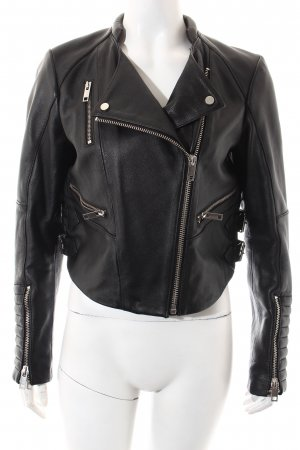 H&M Lederjacke schwarz-silberfarben Street-Fashion-Look