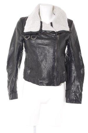 H&M Lederjacke schwarz-wollweiß Casual-Look