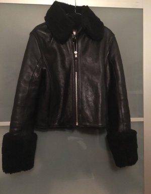 H&M Lederjacke Winterjacke schwarz gefüttert echt Leder Gr.36 wie neu