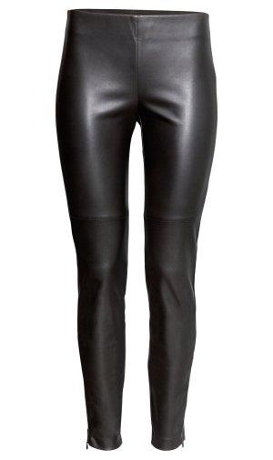 H&M Lederleggings XXS 32 34 schwarz Röhre Leder Hose Nähte Leggings Lederhose