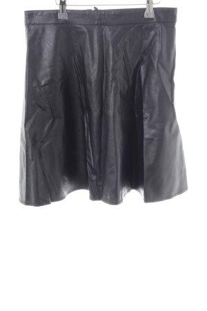 H&M Falda de cuero negro estilo extravagante