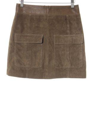 H&M Falda de cuero marrón Estilo ciclista
