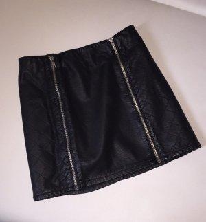 H&M Lederrock Minirock Reißverschluss Skirt Leather