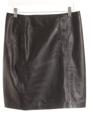 H&M Falda de cuero negro Estilo ciclista